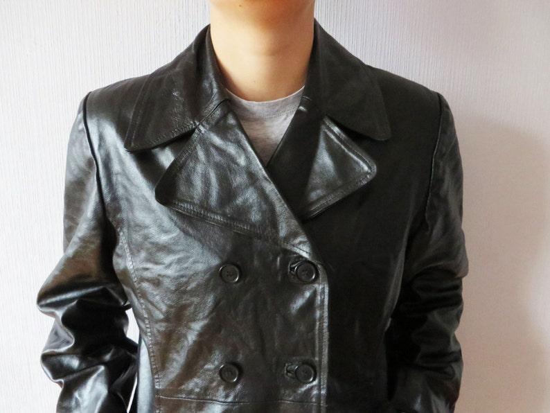 Mantel Schwarz Leder Mantel Leder aus Fetisch Leder Mantel Rocker Mittelgroß Mantel Vintage echtem echtes Leder Damen NOvmwn08