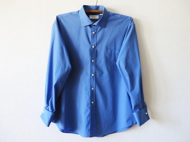 9fa3e3ceda5f6 YSL Mens Blue Classic Dress Up Shirt Yves Saint Laurent Blue   Etsy