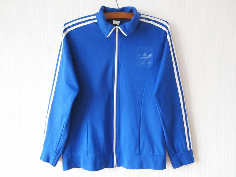 Jahrgang blau ADIDAS Jacke läuft Adidas Track Jacke blau Joggen Parka Aerobic Jacke Hipster Sport Mantel drei Streifen groß