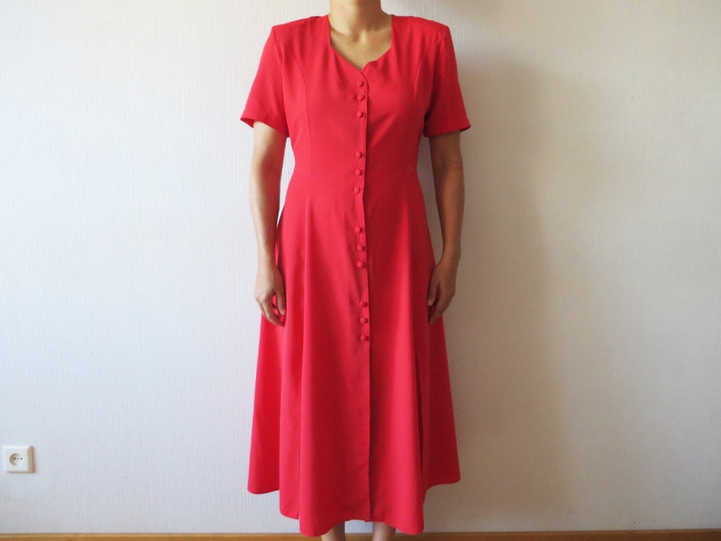 ed364b240f6 Hot Red Long Dress Short Sleeve Tied at the back Button Up