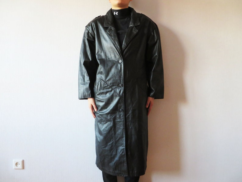 a04b9d37b614 Vintage 80s Black Leather Trench Coat Long Military Style Coat