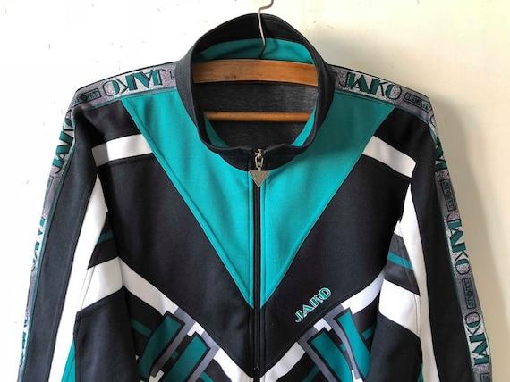 Vintage bleu marine vert JAKO Football veste Parka rétro Jogging aérobic piste costume veste Hipster en cours d'exécution Sport manteau taille XXL