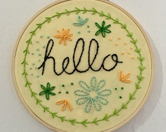Hello, Embroidery Hoop Art