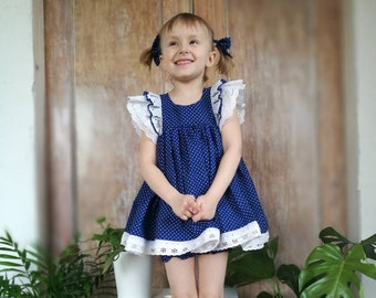 Girl polka dot dress, toddler outfit, girl dress with lace, twirly girl dress, blue toddler dress, dress with bloomers, 2 years, 10 years