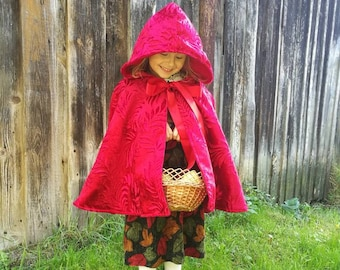 Little Red Riding Hood cape, Little Red Riding Hood costume, Halloween costume, red cape, upcycled cape, toddler cape, cloak, cape with hood