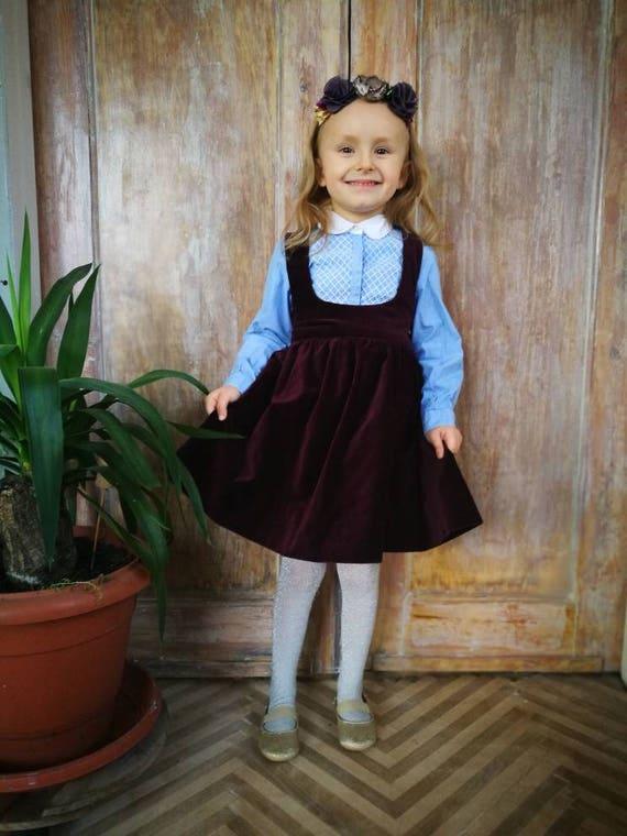 e01bcdd0e Girls pinafore skirt toddler suspender skirt velvet | Etsy