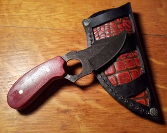 6 Inch Skinner knife with Bloodwood handle with Custom Alligator Embossed Leather Sheath