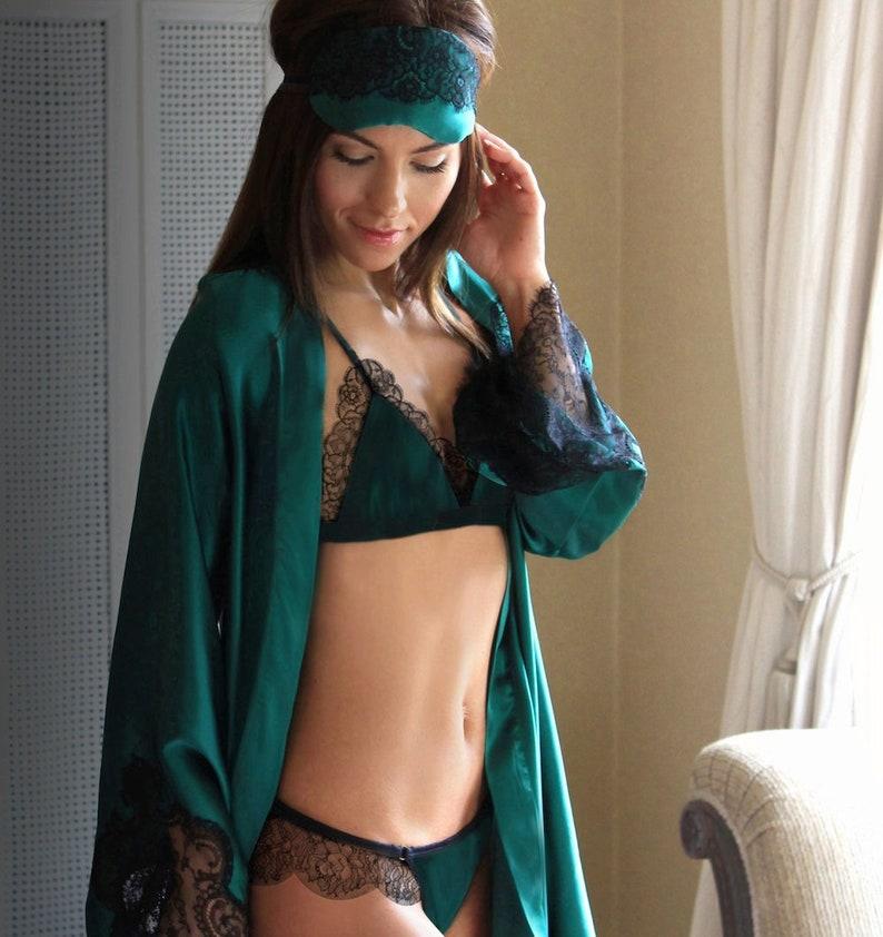 e749cc40954 Ariana luxury Emerald silk and lace bralette valentines