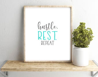 inspirational frames for office wall paint hustle rest repeat wall art office dorm printable inspirational work print gray frames digital print should would could did art printable etsy