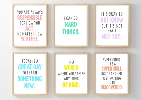 set of multicolor classroom quotes printables for