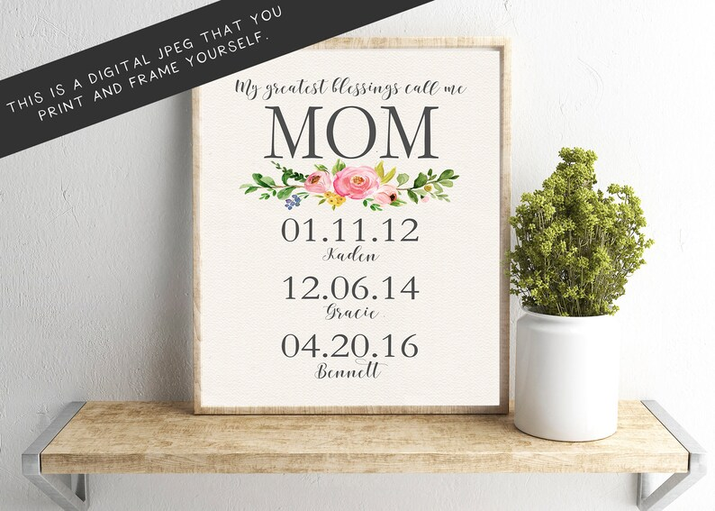 My Greatest Blessings Call Me Mom JPEG Wall Art Floral image 0