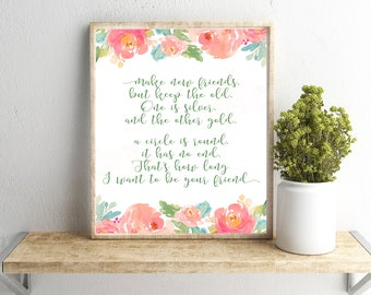 Make New Friends but Keep the Old Girl Scouts Quote Wall Art, Girl Scouts Troop Printable, End of the Year Girl Scout Member Gift,Scouts Art