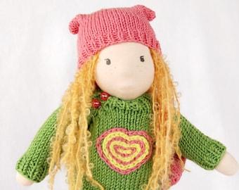 Ready to ship Waldorf inspired doll 13 inch (35 cm), textile doll, fabric doll,  rag doll, cloth doll, custom doll, soft doll