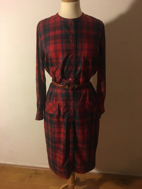 1980s does 1950s checkered bombshell dress