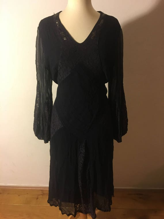 Gorgeous Navy silk chiffon and lace 1930s midi dre