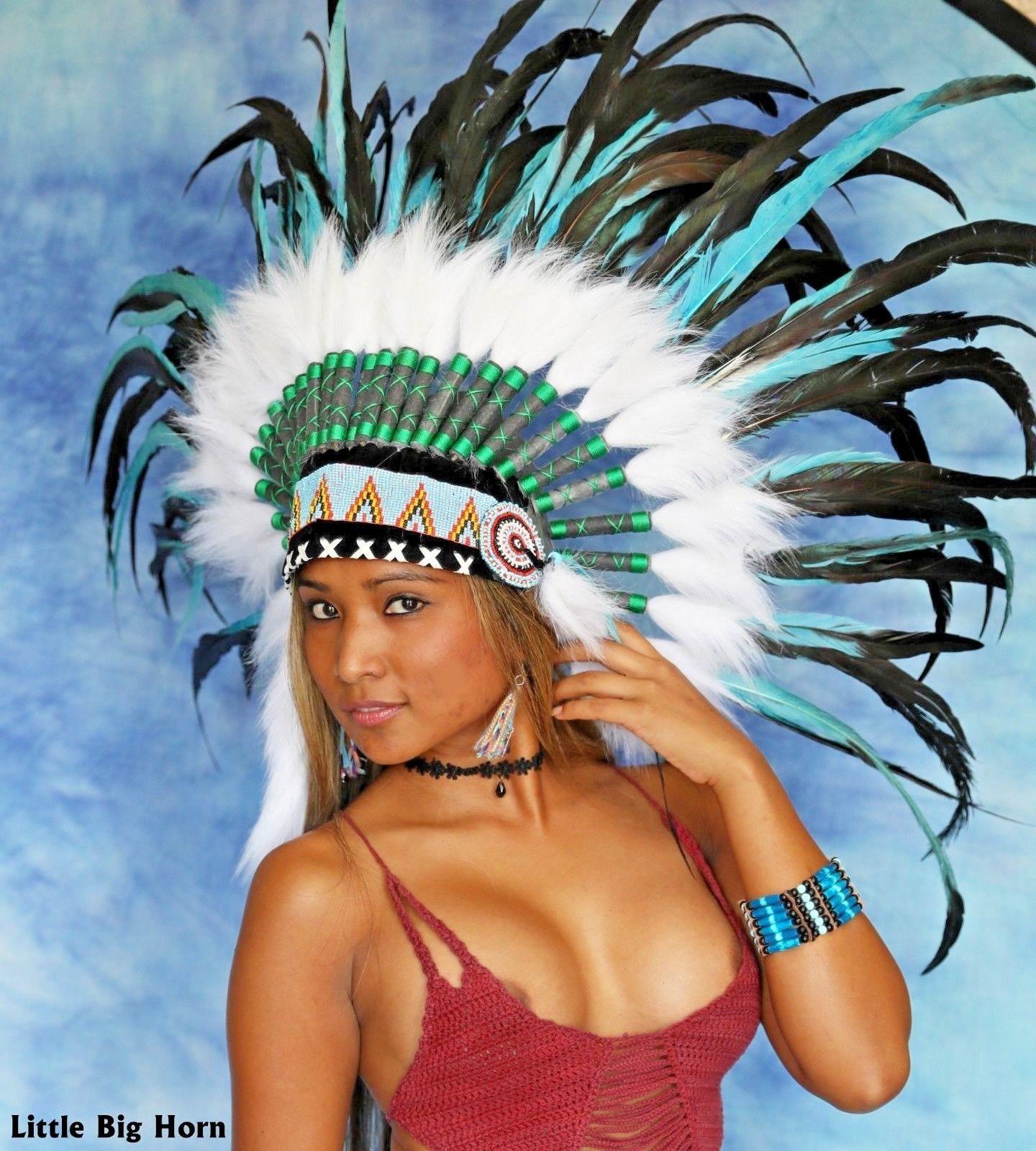 Indianer Kopfschmuck War bonnet Indianerschmuck Little Big Horn Federhaube 2019