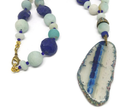 Natural Stones Necklace, Lapislazuli and Amazonite Necklace, Semiprecious Stones Necklace, Agate Slice Necklace, OOAK
