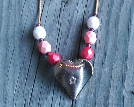 Heart Necklace, Heart and Star Necklace, Hand Stamped Necklace, Czech Crystal Necklace