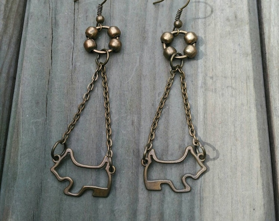 LONG/EARRINGS/SCHNAUZER westie in antique bronze metal