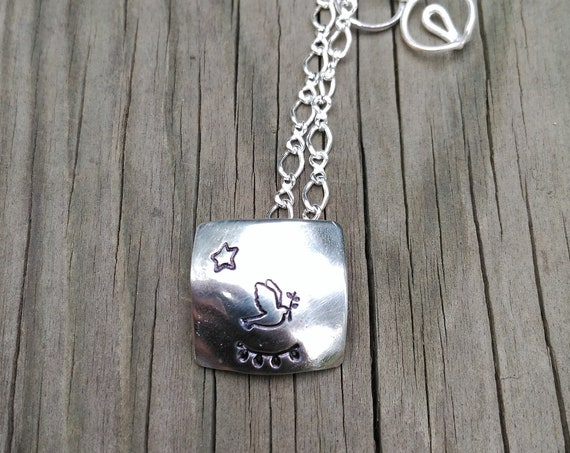 Sterling Silver Necklace, Sterling Silver Chain with Dove Pendant, First Communion Nekclace
