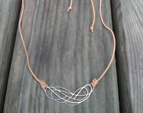 LEATHER NECKLACE with silver plated filigree KNOT