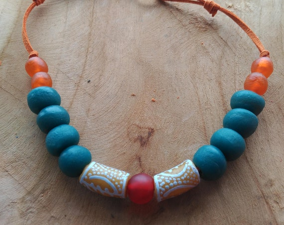 African Necklace, Etnic Necklace, Recycled glass Necklace, Artisan Necklace, Tribal Necklace