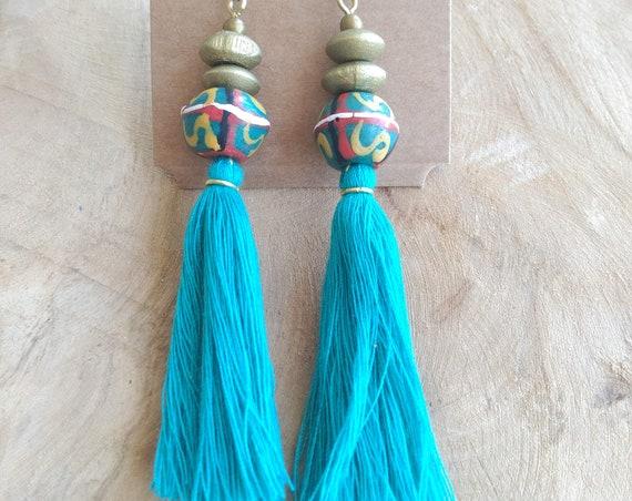 African Earrings, Etnic Earrings, Tribal Earrings, Recycled Glass Earrings, Teal Earrings