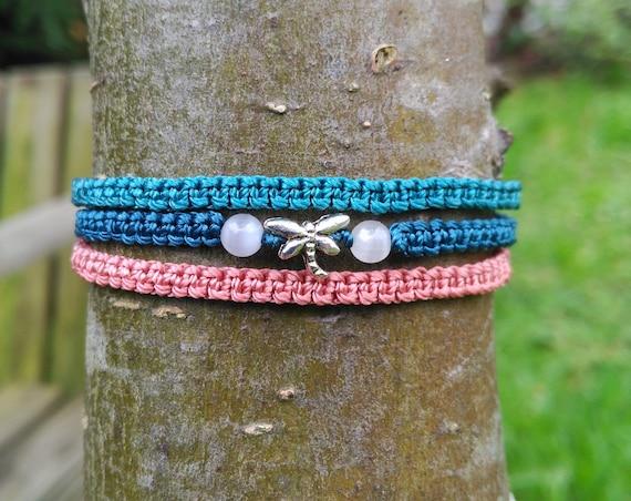 Dragonfly Macrame Bracelet, Three Colors