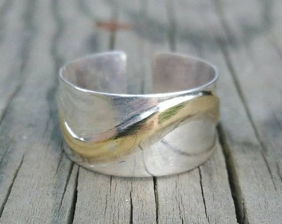 Sterling SILVER RING waves with BRASS wavy strip
