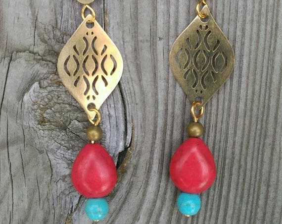 Long EARRINGS with RED HOWLITE  drop