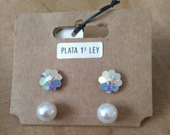 Sterling Silver Stars Earrings, Swarovski Crystal Earrings, Pearls Earrings, Sterling Silver Flower Earrings, Swarovski Crystal Earrings