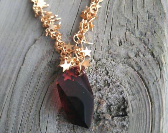 Golden Star Necklace, Swarovski Necklace, Swarovski Elements