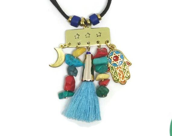 Collar Boho Chic, Collar Borla, Mano Fatima Collar, Collar con Piedras, Collar de Hamsa