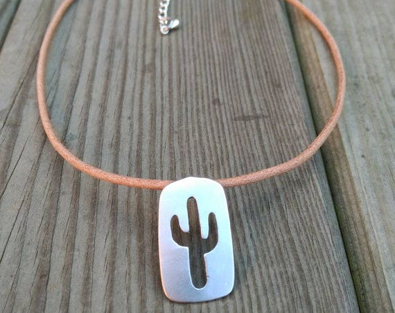 LEATHER NECKLACE with silver plated CACTUS