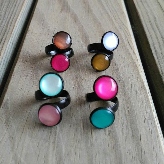 Black Ring Crystal, Matte Black ring, Black Crystal Ring, Double Ring, Cat Eye ring