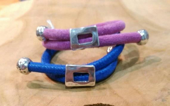 Suede lace leather bracelet, woman bracelet, adjustable bracelet, silver embellishment bracelet