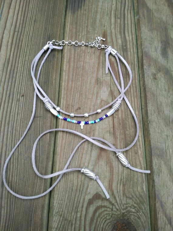 CHOKER, BOHO, CROSS, suedette, faceted beads