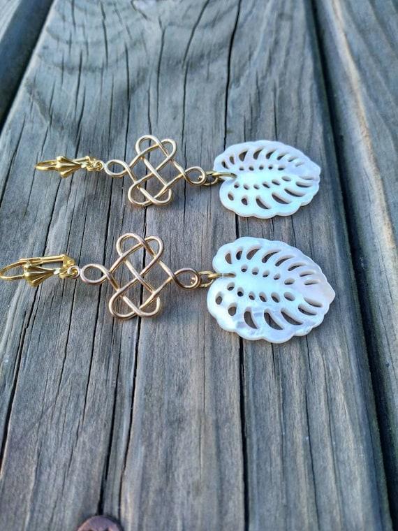 Monstera Leaf Earrings. Pearl Earrings. Long Golden Earrings