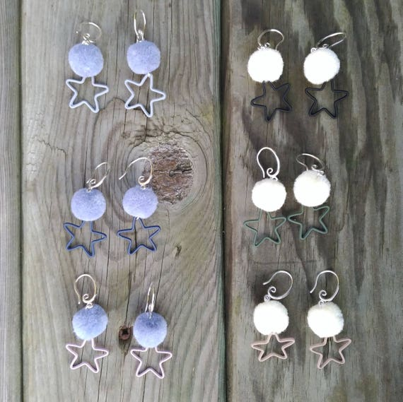POMPON and STAR EARRINGS