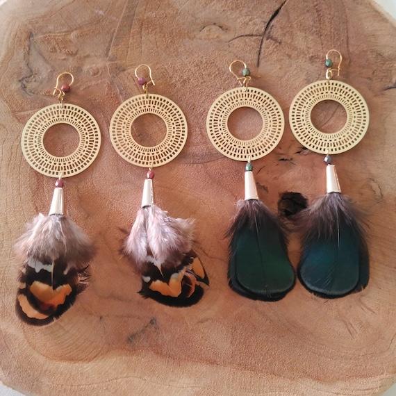 Long Feather Earrings, Feather Gold Earrings, Long Gold Earrings, Matte Gold Earrings