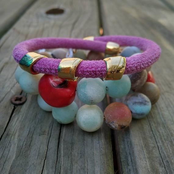 Semi-precious bracelet, stone bracelet, suede bracelet, multi-round bracelet