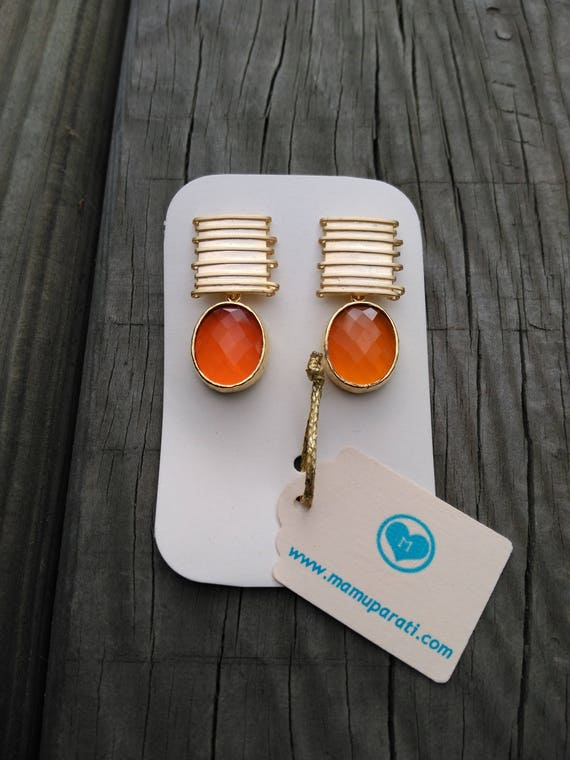 Matte Gold Earrings. Golden Earrings. Orange Earrings. Gold Plated Earrings. Crystal Earrings.
