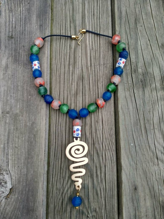 Ethnic Necklace. Tribal Necklace. Recycled Glass Necklace. African Necklace.