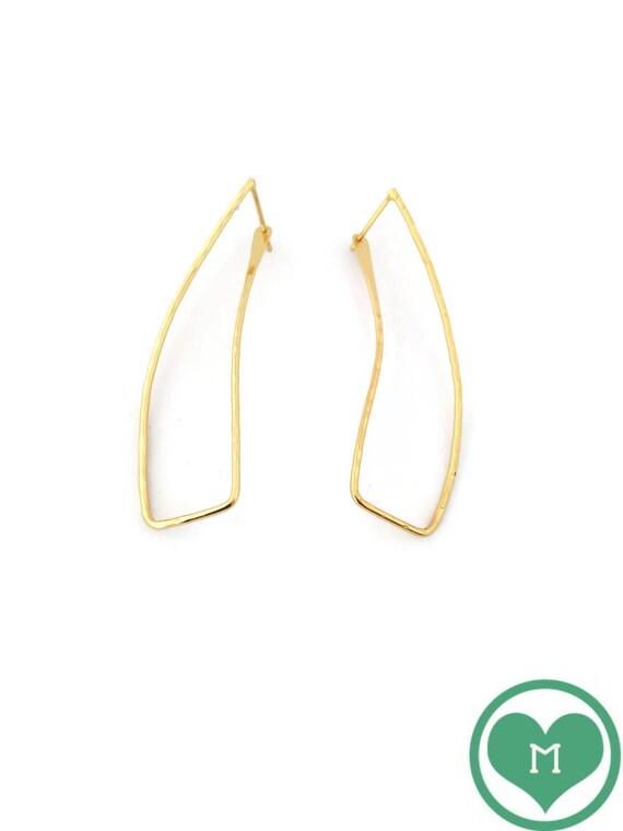 Minimalist earrings, Rectangular hoop earrings, Geometric earrings, Golden earrings