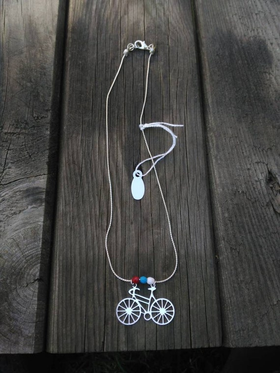 Necklace chain Silver plated. Bicycle pendant necklace