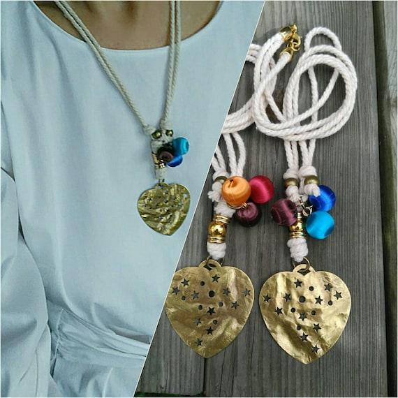Heart Necklace, Golden Heart, Cord Necklace, Heart Pendant