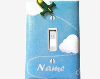 Airplane light switch cover Transportation nursery decor