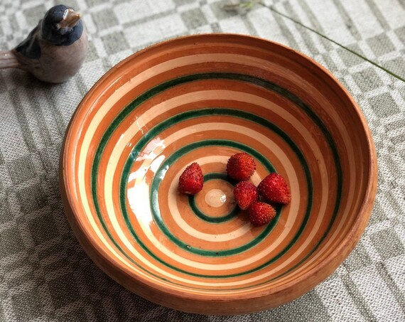 Swedish studio pottery bowl from Skåne Sweden handpainted Scandi farmhouse
