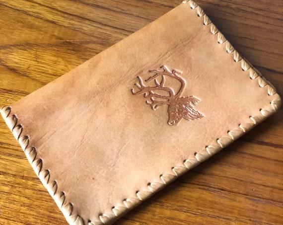 Vintage embossed tan brown leather wallet passport cover organizer travel wallet reindeer