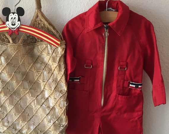 Scandinavian/retro/ jumpsuit/bright red/ overalls/ vintage/ 1970s/ racing stripe /pitt crew